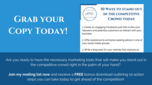 Join my mailing list today & get a FREE guide giving you 10 actions you can take today to get ahead of the competition