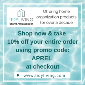 "Shop Tidyliving.com and receive a 10% discount when using the promo code ""APREL"""